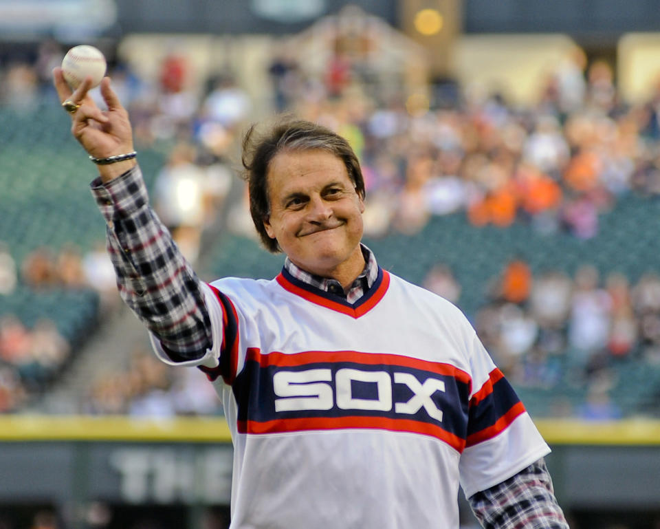 FILE - In this Aug. 30, 2014, file photo, former Chicago White Sox manager Tony La Russa throws out a ceremonial first pitch before the second baseball game of a baseball doubleheader against the Detroit Tigers in Chicago. Tony La Russa felt fortunate. The Chicago White Sox gave the Hall of Famer the opportunity to manage again despite a lengthy absence from the dugout and stuck with him after news of a drunken driving arrest broke shortly after his hiring. (AP Photo/Matt Marton, File)