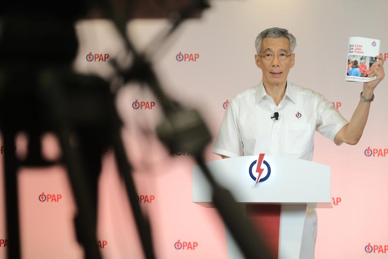 PAP secretary-general Lee Hsien Loong unveiling the party's manifesto for GE2020. (Photo: PAP)