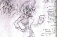 "<p>Paul Dini's first sketch of the character: ""a 1960s blonde in a miniskirt"" based in part on <i>I Dream of Jeannie</i>'s Barbara Eden with a dash of 1940s ""screwballs"" like Betty Hutton, Gloria Grahame, and Claudette Colbert. <i>(Image: Paul Dini/Warner Bros.)</i></p>"