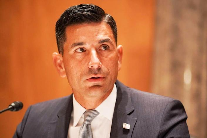 """<div class=""""inline-image__caption""""> <p>Department of Homeland Security Acting Secretary Chad Wolf testifies during his confirmation hearing on Sept. 23.</p> </div> <div class=""""inline-image__credit""""> Getty Images </div>"""