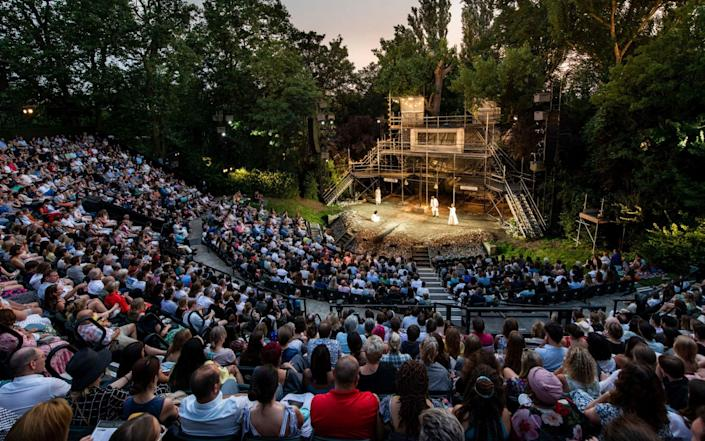 A live performance of William Shakespeare's 'Romeo and Juliet' is performed to an audience at Regent's Park Open Air Theatre on July 21, 2021 in London, England. This sell-out performance is the first full capacity show to take place since 2019 following restrictions of the COVID-19 pandemic. ( - Getty Images