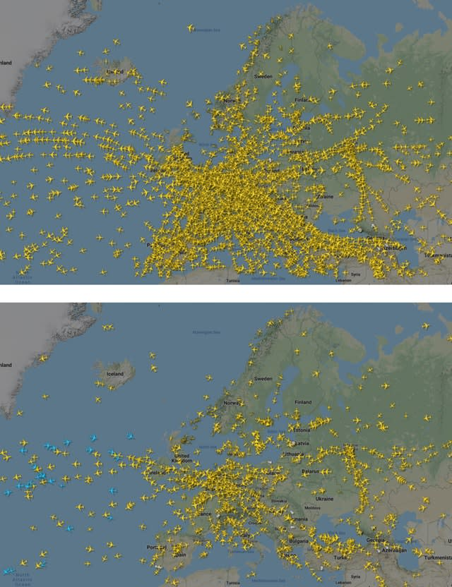 An overview of air traffic across the European Union on December 18 (above) and on March 25 (below) following a drastic reduction in flights due to the coronavirus (Flightradar24,com via AP)