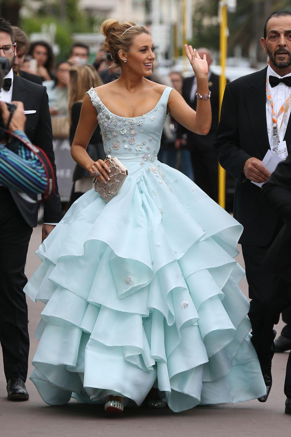 <p>Blake Lively drew many comparisons to Cinderella when she wore this light-blue gown designed by Vivienne Westwood to the premiere of <em>Slack Bay</em> at the Cannes Film Festival in 2016.</p>