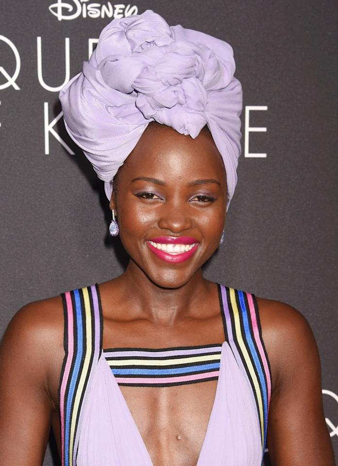 <p>Lupita's been wearing a lot of headwraps lately, ahead of the release of her new move <i>Queen of Katwe</i>. And she is killing it every time. (Photo: Getty Images)</p>