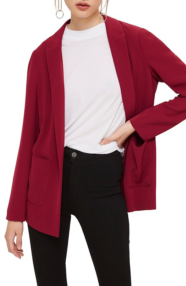 "<p><strong>TOPSHOP</strong></p><p>nordstrom.com</p><p><strong>$40.00</strong></p><p><a rel=""nofollow"" href=""https://shop.nordstrom.com/s/topshop-chuck-on-blazer/5072716"">SHOP NOW</a></p><p>At just $40, this blazer is a steal, whether you buy it in black, red, green, or yellow! Investing in a blazer allows you to get creative with a number of <a rel=""nofollow"" href=""https://www.womansday.com/style/fashion/g2854/outfit-ideas-to-look-more-pulled-together/"">outfit combinations</a>. ""Tailored blazers are the perfect piece to incorporate into your wardrobe and wear year-round,"" Garcia says. ""During the fall and winter, I use them as layering pieces and added warmth. In the spring/summer, blazers keep you covered in the office when the AC is blasting.""<br></p>"
