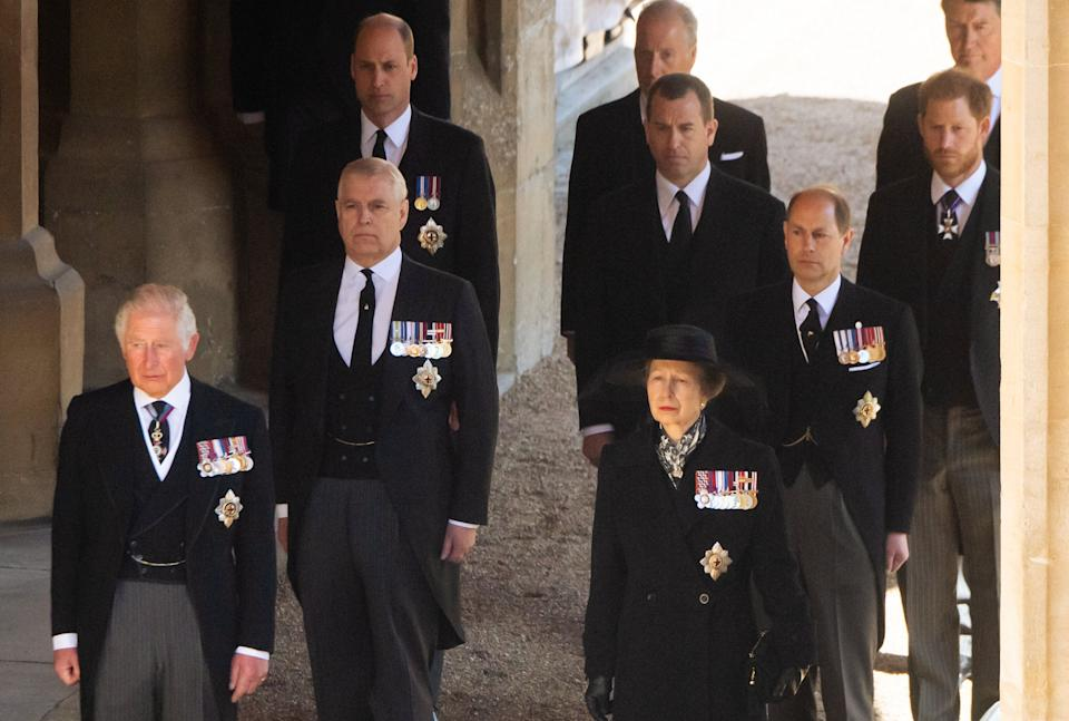 Prince Charles, Prince Andrew, Princess Anne, Prince William, Earl of Snowdon David Armstrong-Jones, Peter Phillips, Prince Edward, Prince Harry and Vice-Admiral Sir Timothy Laurence before the funeral.