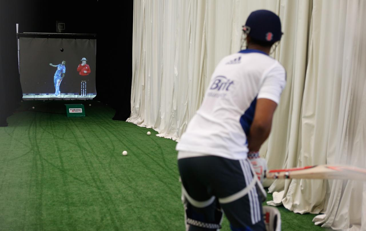 LOUGHBOROUGH, ENGLAND - NOVEMBER 08:  A batsman in the Pro Batter nets during the ECB England Performance Programme Training session at Loughborough University on November 8, 2012 in Loughborough, England.  (Photo by Tom Shaw/Getty Images)