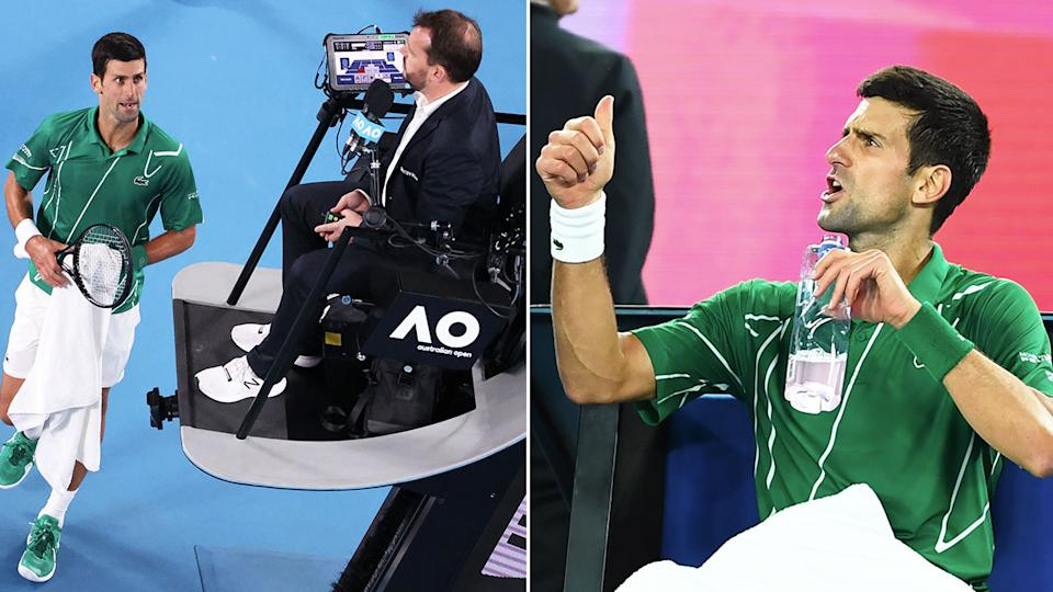 Novak Djokovic was very unhappy with the chair umpire's time violation on his serve. Pic: Getty