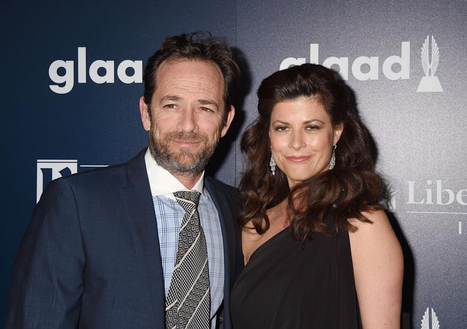 Luke Perry and fiancée Wendy Madison Bauer, at the 2017 GLAAD Awards, planned to marry this summer. (Photo: Jeffrey Mayer/WireImage)