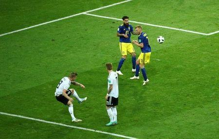 Soccer Football - World Cup - Group F - Germany vs Sweden - Fisht Stadium, Sochi, Russia - June 23, 2018 Germany's Toni Kroos scores their second goal REUTERS/Hannah McKay