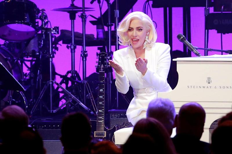 Surprise appearance: Lady Gaga at the benefit (REUTERS)