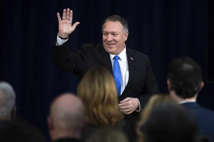 Secretary of State Mike Pompeo departs after delivering remarks on human rights in Iran at the State Department in Washington, Thursday, Dec. 19, 2019. (AP Photo/Matt Rourke)
