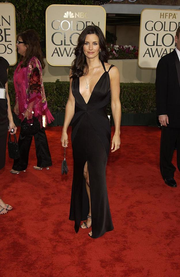 """Courteney Cox Arquette put her """"friends"""" on display in this revealing gown she wore to the event in 2003. Kevin Mazur/<a href=""""http://www.wireimage.com"""" target=""""new"""">WireImage.com</a> - January 19, 2003"""