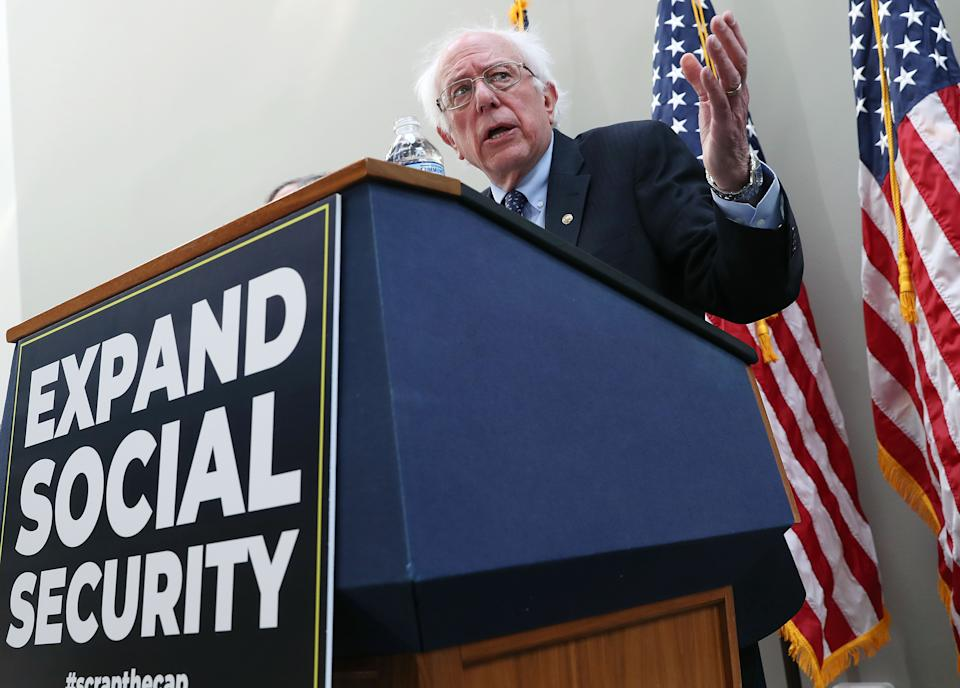 WASHINGTON, DC - FEBRUARY 13: Sen.Bernie Sanders (I-VT) speaks during a news conference to announce legislation to expand Social Security, on Capitol Hill February 13, 2019 in Washington, DC. Sen. Sanders proposal would contribute to Social Security with payroll taxes on income above $250,000. (Photo by Mark Wilson/Getty Images)