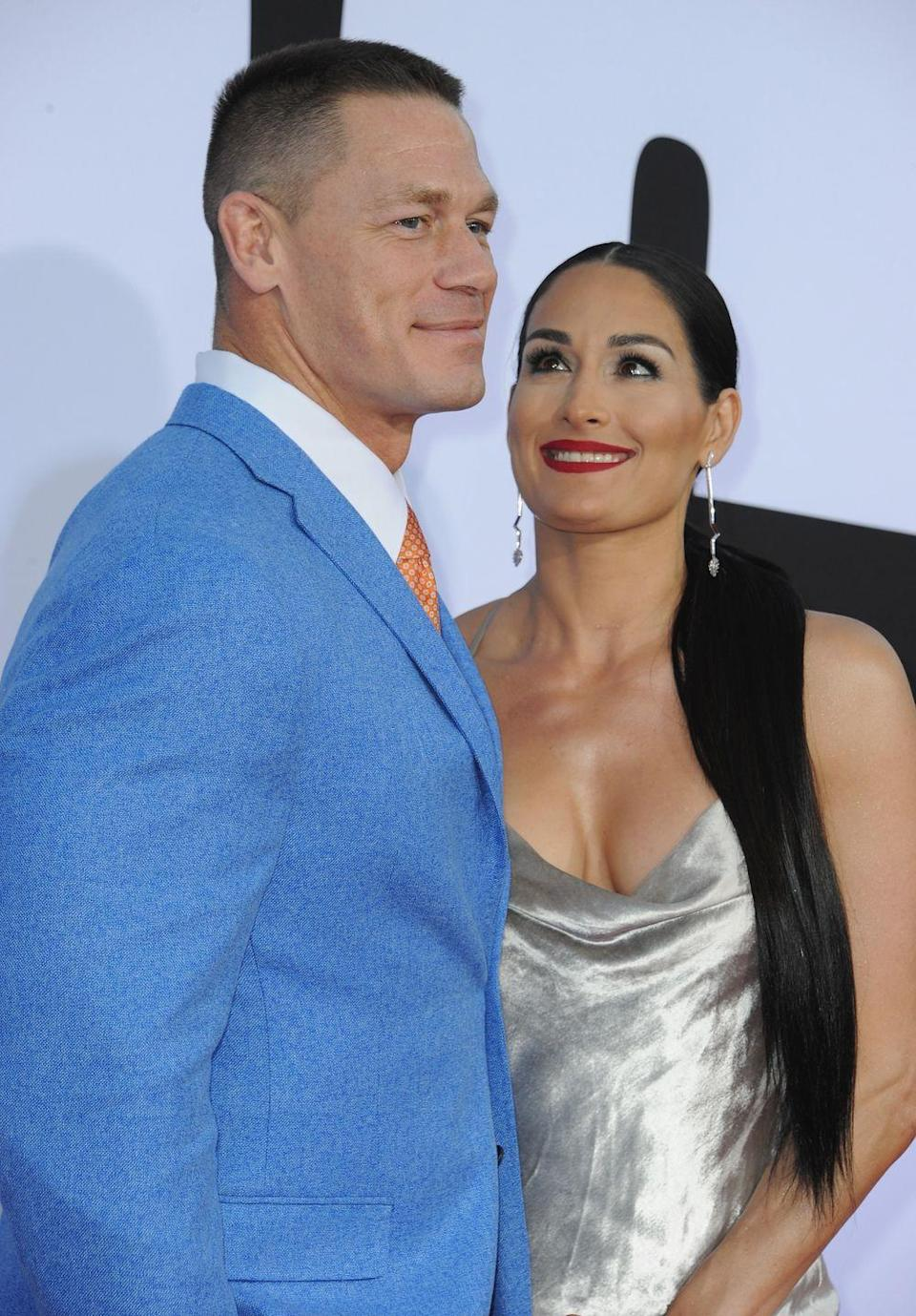 """<p>The fellow professional wrestlers got engaged on live TV in April 2017, after six years together. But they announced their breakup in the weeks before their wedding in 2018, according to <em><a href=""""https://www.usmagazine.com/celebrity-news/news/nikki-bella-and-john-cena-break-up-end-engagement/"""" rel=""""nofollow noopener"""" target=""""_blank"""" data-ylk=""""slk:Us Weekly"""" class=""""link rapid-noclick-resp"""">Us Weekly</a></em><a href=""""https://www.usmagazine.com/celebrity-news/news/nikki-bella-and-john-cena-break-up-end-engagement/"""" rel=""""nofollow noopener"""" target=""""_blank"""" data-ylk=""""slk:."""" class=""""link rapid-noclick-resp"""">.</a></p>"""