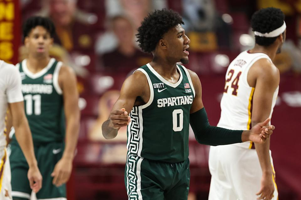 Dec 28, 2020; Minneapolis, Minnesota, USA; Michigan State Spartans forward Aaron Henry (0) reacts after a call during the second half against the Minnesota Gophers at Williams Arena.