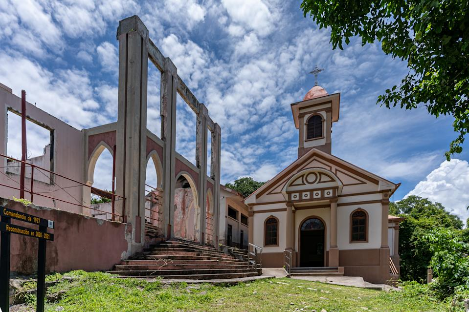 Beautiful view of the San Lucas national park Church and ruins- in Costa Rica