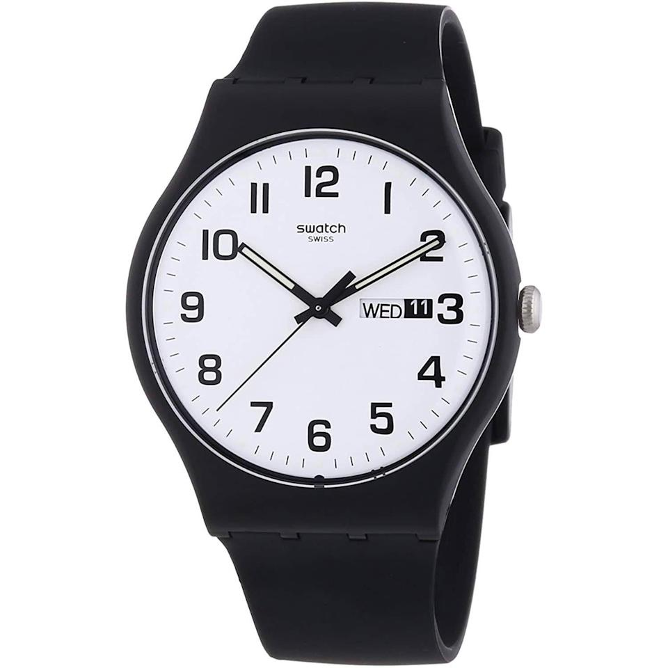 """<p><strong>Swatch</strong></p><p>amazon.com</p><p><strong>$48.55</strong></p><p><a href=""""https://www.amazon.com/dp/B00EMUR0UW?tag=syn-yahoo-20&ascsubtag=%5Bartid%7C10054.g.35351418%5Bsrc%7Cyahoo-us"""" rel=""""nofollow noopener"""" target=""""_blank"""" data-ylk=""""slk:Shop Now"""" class=""""link rapid-noclick-resp"""">Shop Now</a></p><p>An understated slapper from the Swiss brand.</p>"""