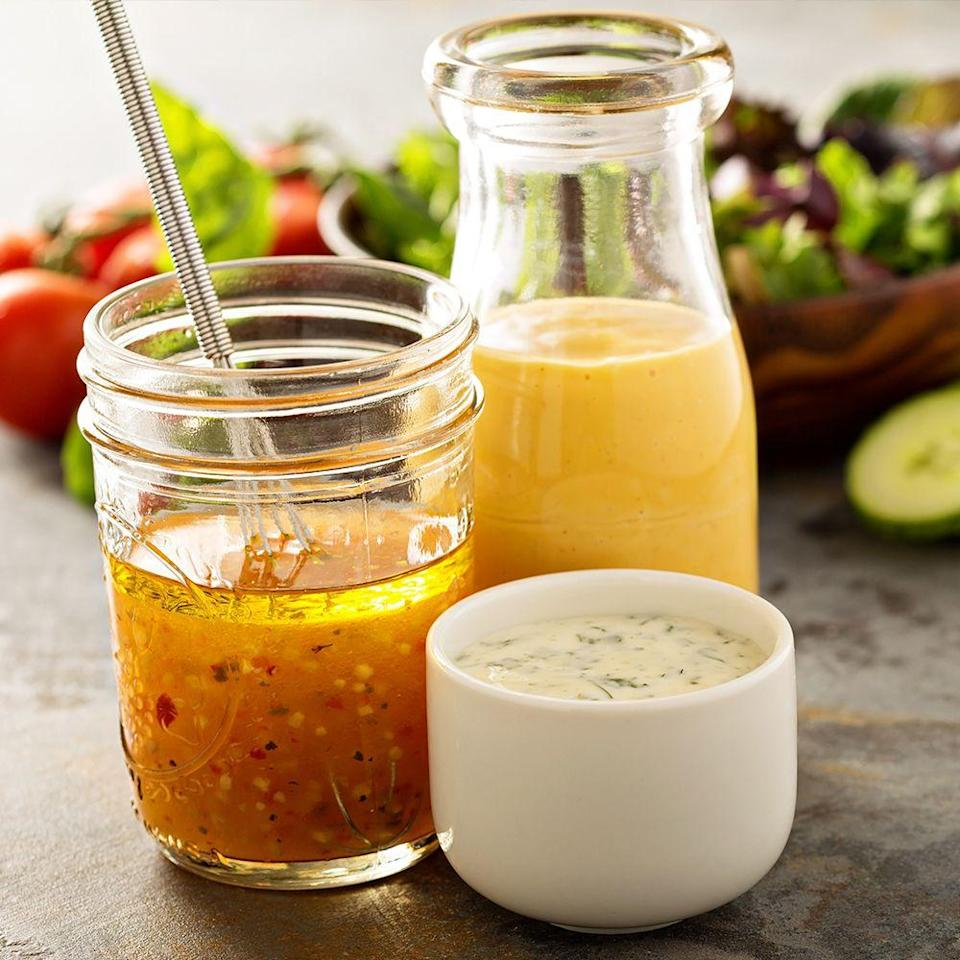 <p>It's far easier (and cheaper) to prepare your own dressings for those nutritious salads that you're making yourself. Plus, you're ditching all the added fat, sugar, and calories that come in the bottled brands, which essentially make eating salads in the first place a waste of time. </p>