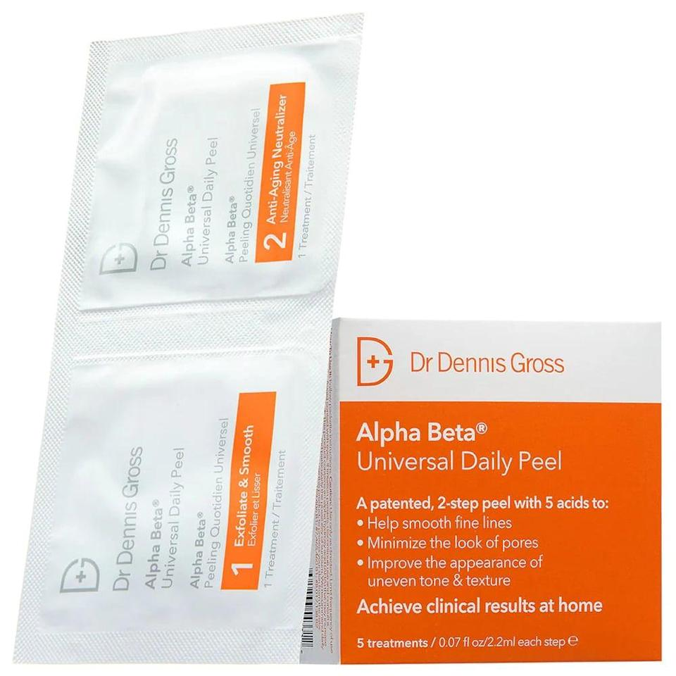 <p>Give yourself an instant facial with the beloved <span>Dr. Dennis Gross Skincare Mini Alpha Beta Universal Daily Peel</span> ($17). It comes with five treatments that will give your skin the boost it needs for a brighter, smoother complexion.</p>