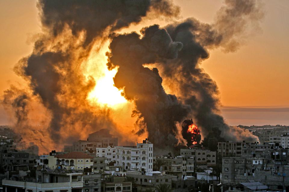 A fire rages in the Gaza Strip