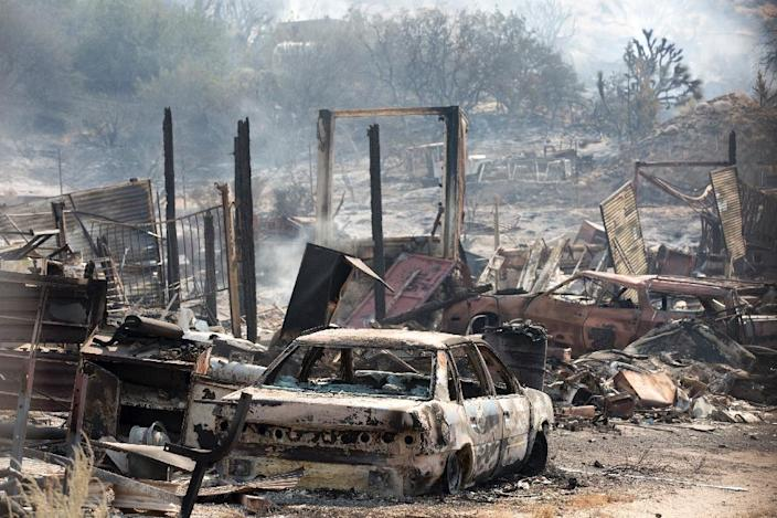 Governor Jerry Brown declared a state of emergency for San Bernardino County, just 60 miles (100 kilometers) east of Los Angeles, where the so-called Bluecut Fire is growing (AFP Photo/Jonathan Alcorn)