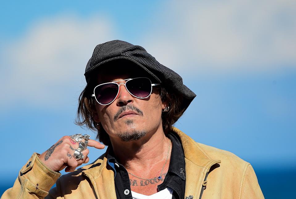 """Johnny Deep during the photocall for his film """"Crock of Gold: A Few Rounds with Shane Macgoman"""" at the 68th San Sebastian Film Festival, in San Sebastian, northern Spain, Sept. 20, 2020."""