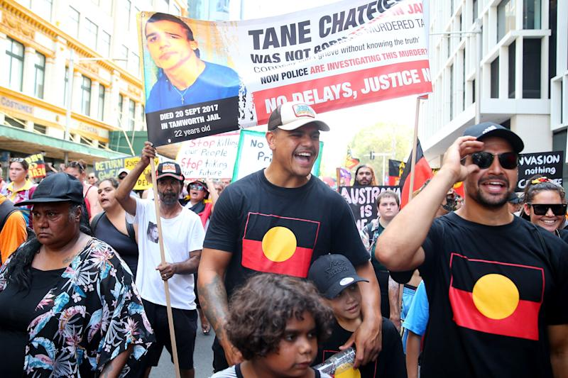 Latrell Mitchell marches down Elizabeth St during a protest march on January 26, 2020 in Sydney, Australia. (Photo: Don Arnold/Getty Images)