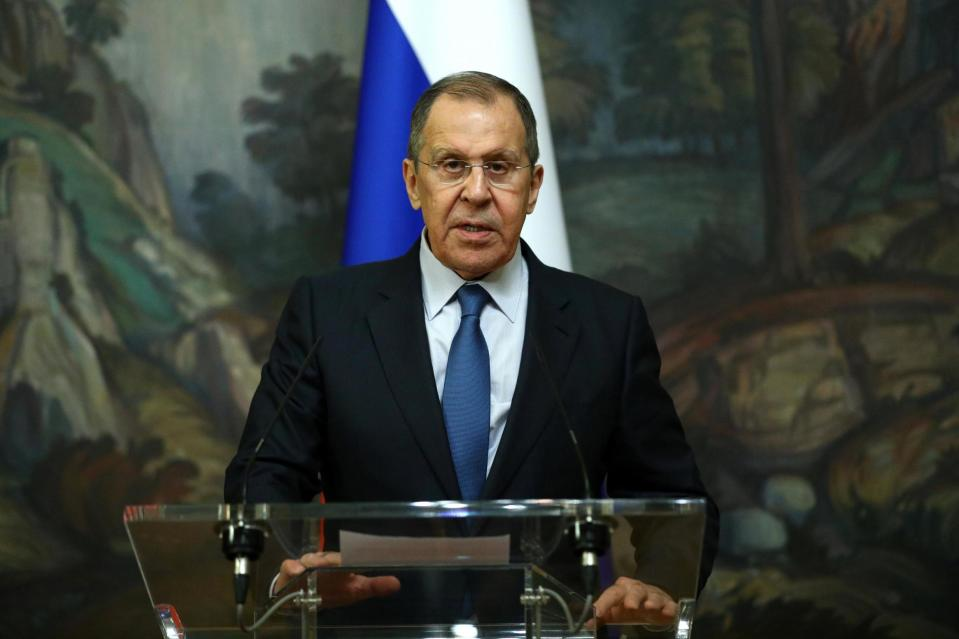 Russian Foreign Minister Sergei Lavrov makes a statement (via REUTERS)