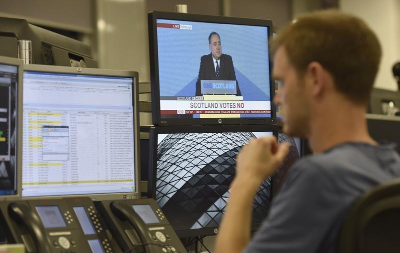 A trader at IG Index looks at his screens, in central London