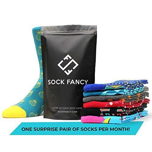 """<p><strong>Sock Fancy</strong></p><p>amazon.com</p><p><strong>$12.00</strong></p><p><a href=""""https://www.amazon.com/dp/B07KSFD8LH?tag=syn-yahoo-20&ascsubtag=%5Bartid%7C10055.g.29003353%5Bsrc%7Cyahoo-us"""" rel=""""nofollow noopener"""" target=""""_blank"""" data-ylk=""""slk:Shop Now"""" class=""""link rapid-noclick-resp"""">Shop Now</a></p><p>Give the stylish man or woman in your life a year's worth of fancy feet by with this monthly sock subscription. At the start of every month, a pair of patterned crew or no-show socks will arrive right at their door. </p><p><strong>RELATED:</strong> <a href=""""https://www.goodhousekeeping.com/holidays/fathers-day/g32446510/best-subscription-boxes-for-men/"""" rel=""""nofollow noopener"""" target=""""_blank"""" data-ylk=""""slk:The Best Subscription Boxes for Men"""" class=""""link rapid-noclick-resp"""">The Best Subscription Boxes for Men </a></p>"""