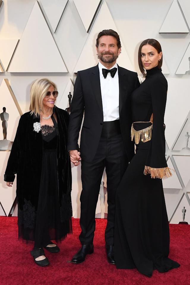 <p>The actor arrived in a classic tuxedo with his mother and longtime girlfriend Irina Shayka. </p>