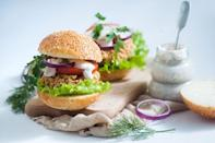 """<p>If you're craving pub food (like Buffalo wings with ranch) these bomb chickpea burgers will hit the spot.<br></p><p><a class=""""link rapid-noclick-resp"""" href=""""https://skinnyms.com/buffalo-ranch-chickpea-burger-recipe/"""" rel=""""nofollow noopener"""" target=""""_blank"""" data-ylk=""""slk:GET THE RECIPE"""">GET THE RECIPE</a></p><p><em>Per serving: 308 calories, 10 g fat (2 g saturated), 44 g carbs, 6 g sugar, 499 mg sodium, 10 g fiber, 12 g protein</em></p>"""