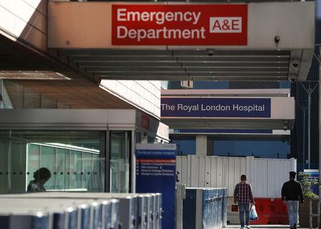 People walk away from the emergency department of the Royal London Hospital, in London, Britain May 5, 2018.  REUTERS/Peter Nicholls