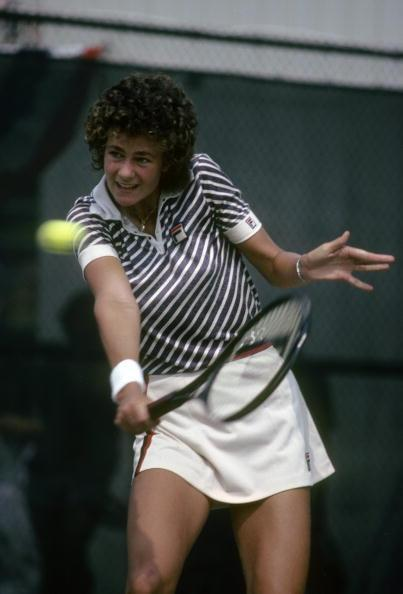 Pam Shriver of the United States plays during the 1980 U.S. Open tennis tournament.