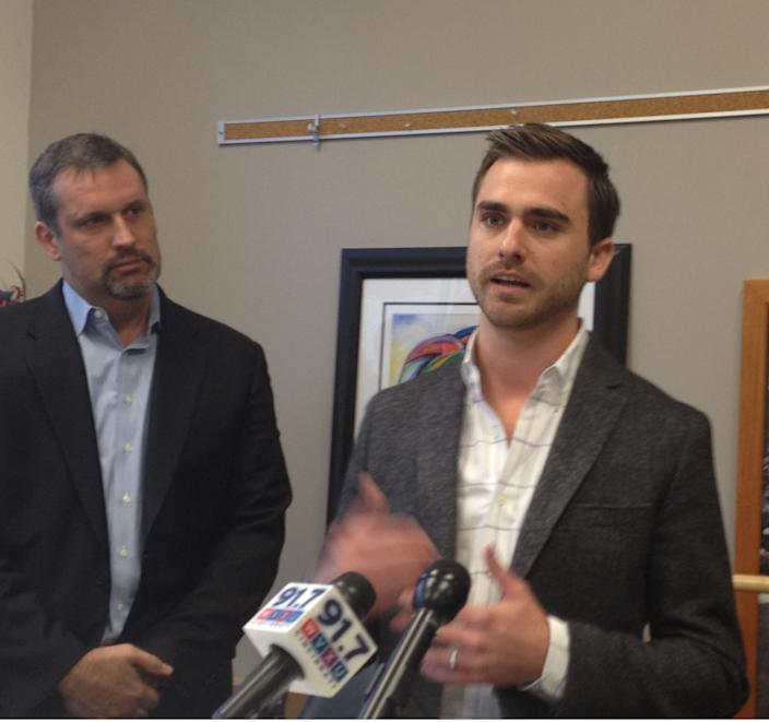 Andy Nielsen, right, president and chief executive of Everything But The House, talks about his company's plans Tuesday after receiving $13 million in venture capital investments.