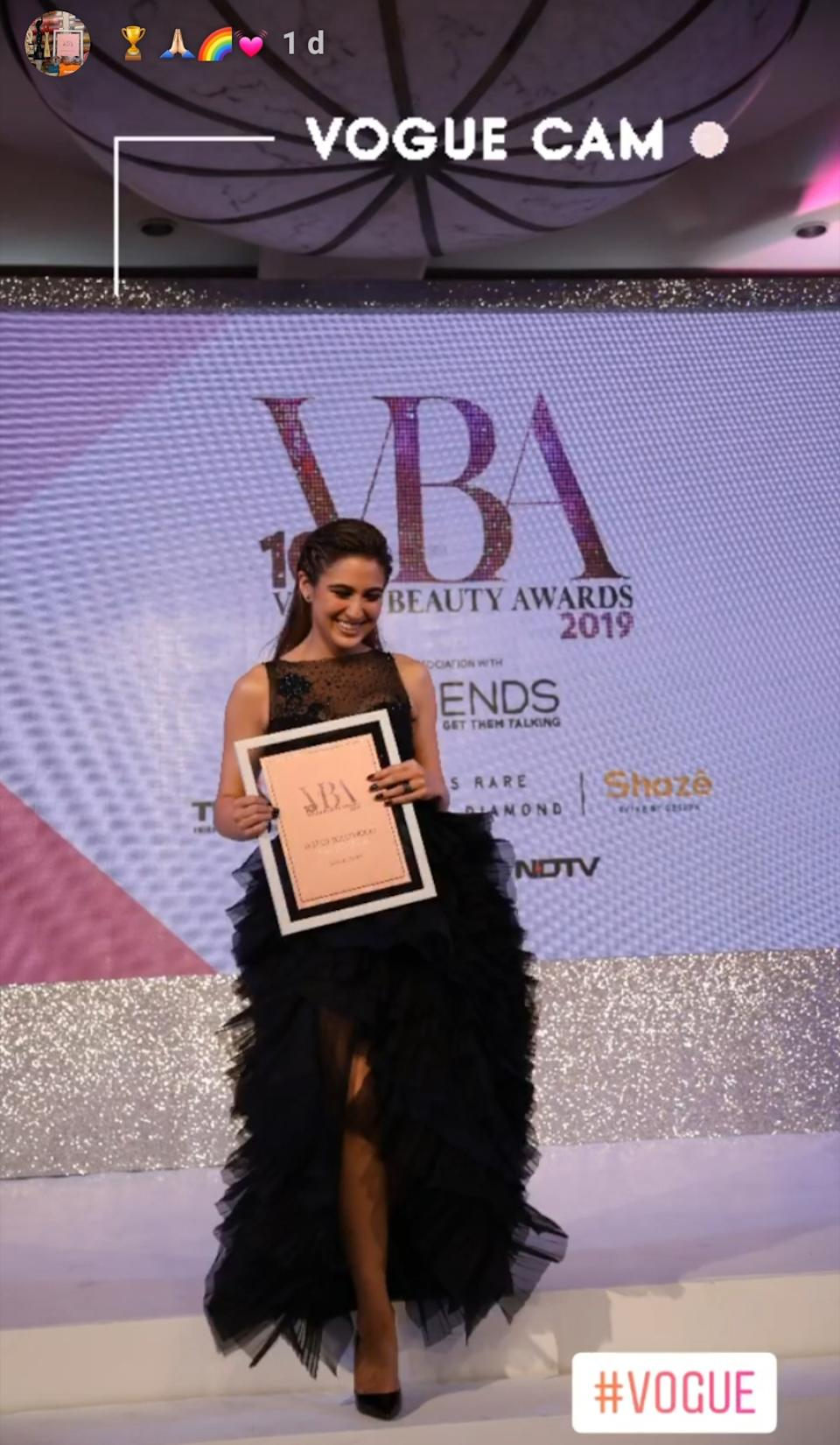 A vision in her midnight-blue Shriya Som lace ensemble, the 24-year-old took to the red carpet of Vogue Beauty Awards in matchless panache. Cascading an aura of royalty, not only did she light up the event with her presence but returned home with the trophy for <strong>'Fresh Face Of The Year</strong>' from her debut appearance at the award night.