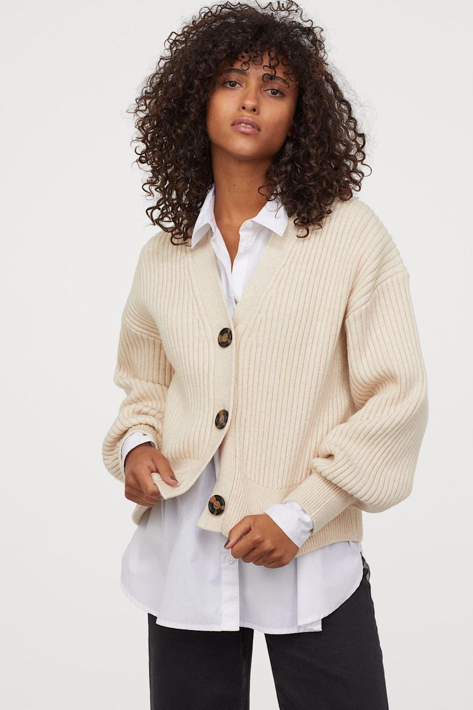 <p>This <span>Rib-knit Cardigan</span> ($35) will look great over a button-down shirt or on its own as a sweater top.</p>