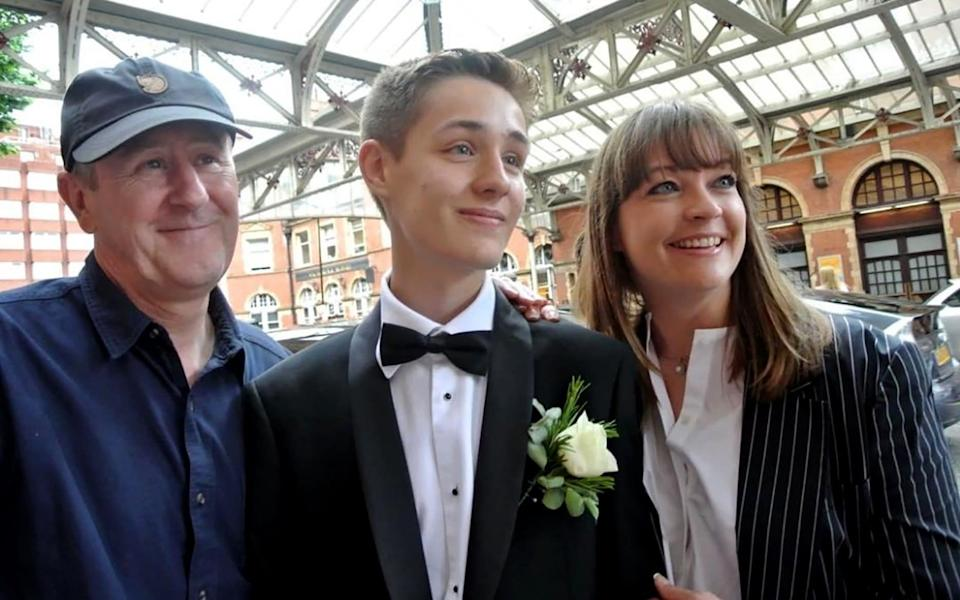 Nicholas Lyndhurst with his son Archie and wife, Lucy