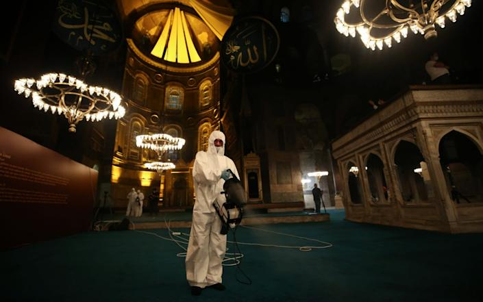 Disinfection works carried out at the Hagia Sophia Grand Mosque - Anadolu