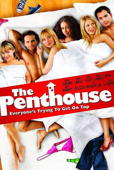<p><b>The Penthouse (2010) </b> <br> <b>What went wrong:</b> A grab bag of amateurish Photoshop here. Each head rests unconvincingly on unconnected bodies; the bed appears to be hovering on a wooden floor; Kaley Cuoco's feet (second-from-right) were surely taken from a photo of someone standing up, and so on. Proves putting a drop shadow on something doesn't necessarily make it look convincing.</p>