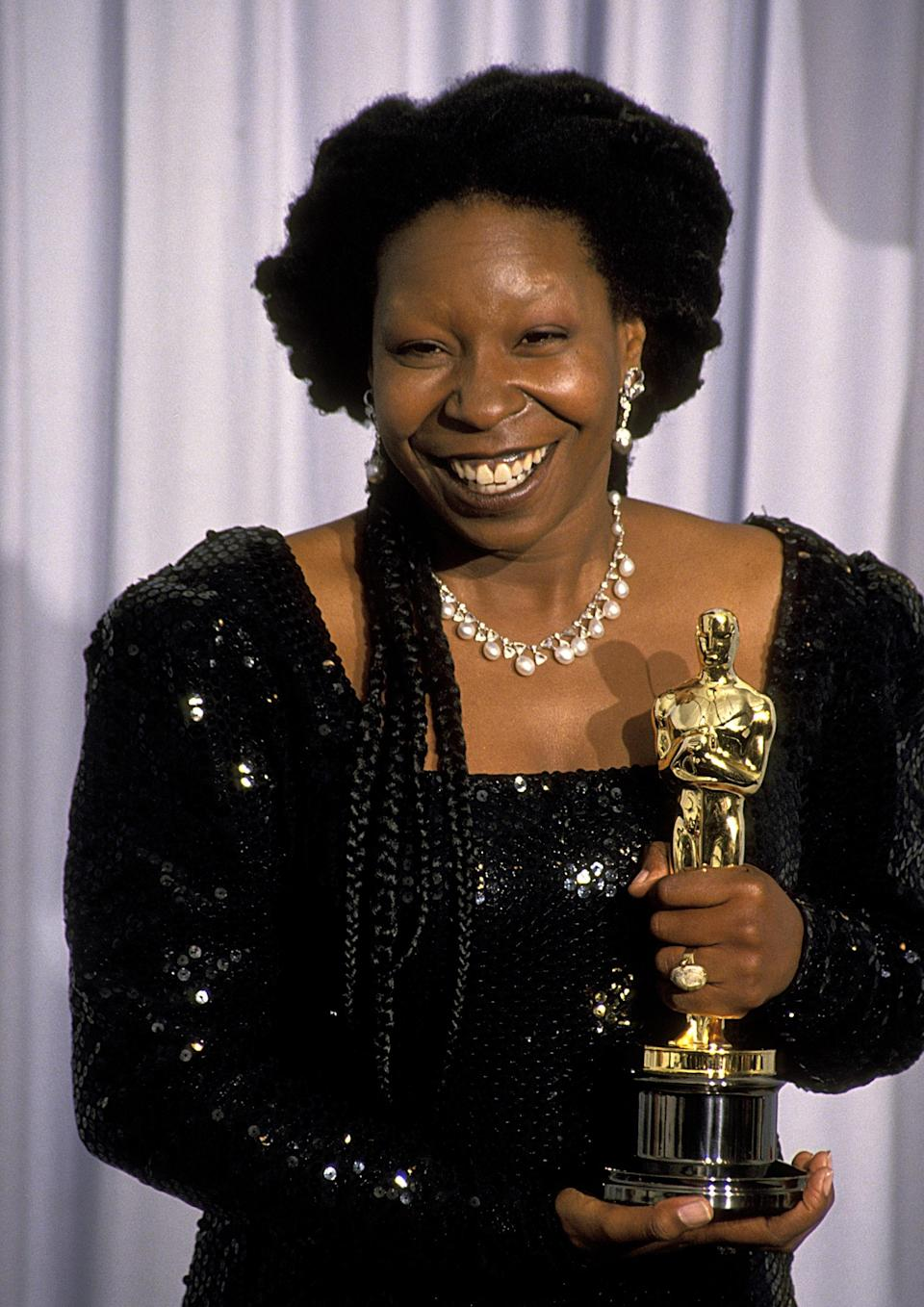 """It's hard to imagine that Whoopi Goldberg was born anything other than, well, Whoopi Goldberg, but it's true: Her birth name is Caryn Elaine Johnson. In 2006 she explained that the stage name actually comes from a whoopee cushion. """"When you're performing on stage, you never really have time to go into the bathroom and close the door,"""" she <a href=""""https://www.nytimes.com/2006/08/20/magazine/20wwln_q4.html"""" rel=""""nofollow noopener"""" target=""""_blank"""" data-ylk=""""slk:told The New York Times"""" class=""""link rapid-noclick-resp"""">told <em>The New York Times</em></a><em>.</em> """"So if you get a little gassy, you've got to let it go. So people used to say to me, 'You're like a whoopee cushion.' And that's where the name came from."""""""