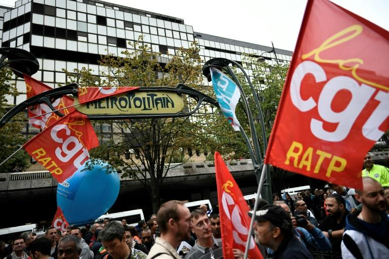 CGT union members protesting at the headquarters of Paris transit operator RATP on Friday