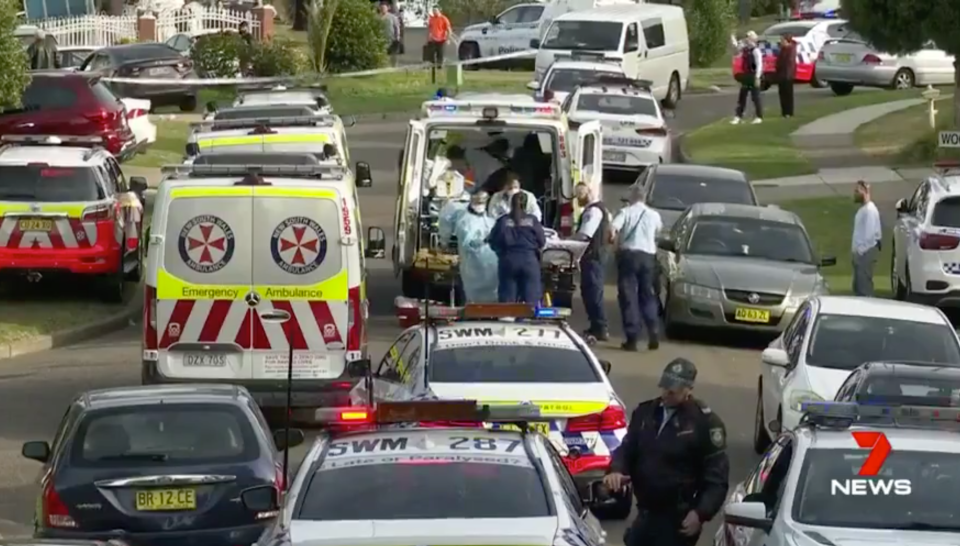Paramedics and police at the scene in Casula. Source: 7News