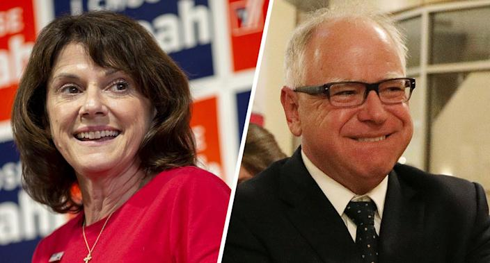 """<span class=""""s1"""">Leah Vukmir, the Republican Senate candidate from Wisconsin, and Tim Walz, the Democratic gubernatorial candidate in Minnesota. (Photos: Daniel Acker/Bloomberg via Getty Images; Anthony Souffle/Star Tribune via AP)</span>"""