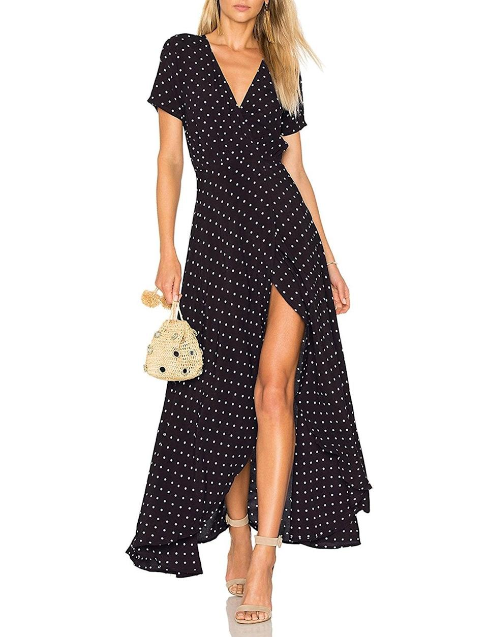 <p>Pair this <span>May&amp;Maya Wrap Maxi Dress</span> ($16) with heels for your next event, and you'll definitely stand out. </p>