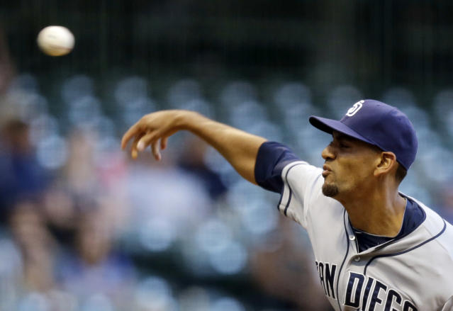 San Diego Padres starting pitcher Tyson Ross throws during the first inning of a baseball game against the Milwaukee Brewers on Tuesday, July 23, 2013, in Milwaukee. (AP Photo/Morry Gash)