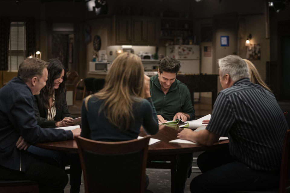 The 'Friends' cast reads through classic episodes in 'Friends: The Reunion' (Photo: Terence Patrick/HBO Max)