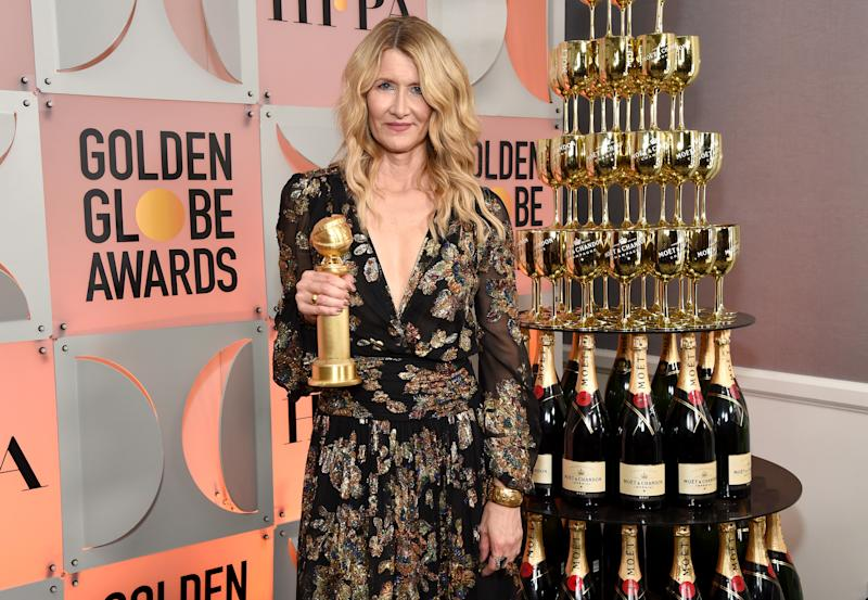 BEVERLY HILLS, CALIFORNIA - JANUARY 05: Laura Dern, winner of Best Performance by an Actress in a Supporting Role in Any Motion Picture - Marriage Story poses with award during the 77th Annual Golden Globe Awards at The Beverly Hilton Hotel on January 05, 2020 in Beverly Hills, California. (Photo by Michael Kovac/Getty Images for Moët and Chandon)