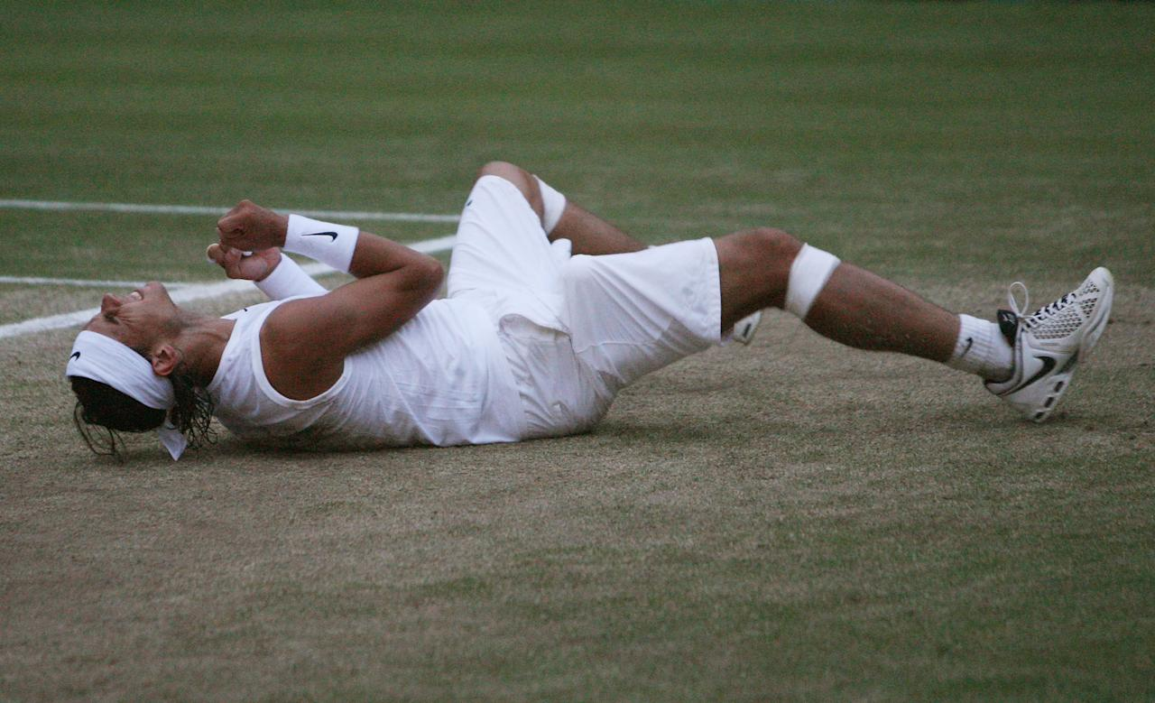 """<p class=""""MsoNormal""""><span>Speaking of best matches ever, Roger Federer vs. Rafael Nadal (pictured) in <b>2008</b> is up there with the Borg-McEnroe final. At 9:15 p.m., in near darkness, Nadal won his first Wimbledon final, ending Federer's streak of five straight titles. It was an epic battle, complete with two rain delays and a seesaw score that gripped the Centre-Court crowd. </span></p>"""